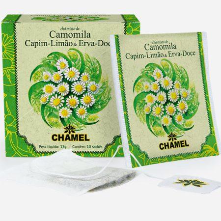 Chá misto de Camomila com Capim Limão e Erva Doce em sachês.